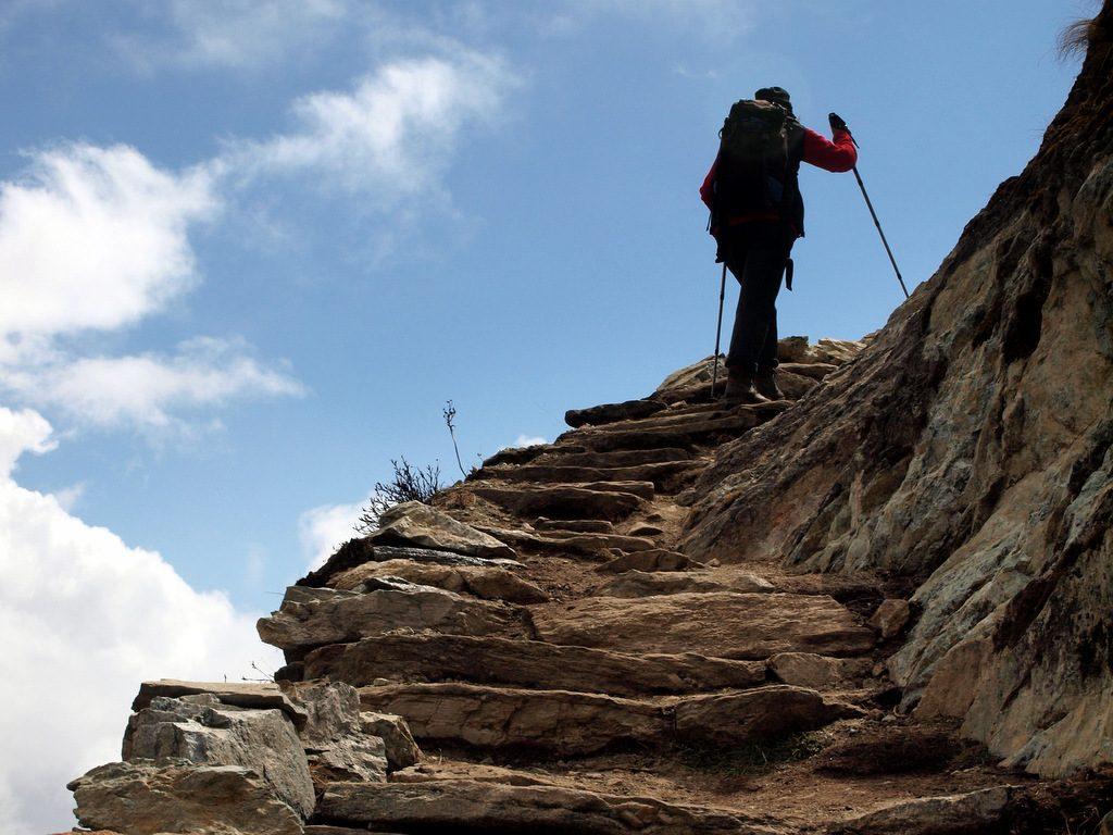 Trekking in Nepal, auf dem Höhenweg von Pangpoche nach Phortse, Everest Region